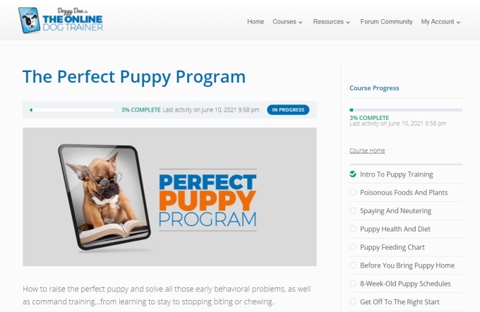 The Online Dog Trainer - Members Area Puppy Training Course Page