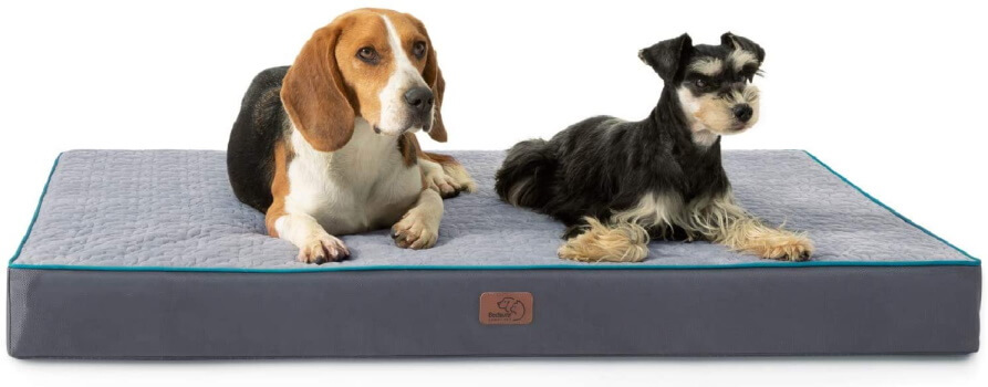 Bedsure Orthopedic Memory Foam Bed For Large Dogs - two dogs on top