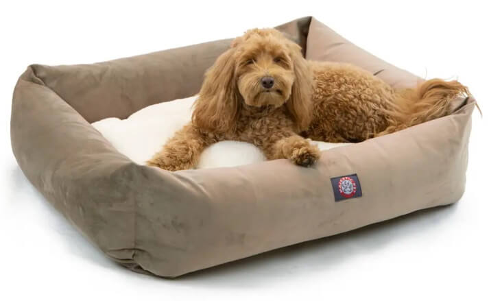 Majestic Pet Luxe Suede Bagel Dog Bed - Stone Colour